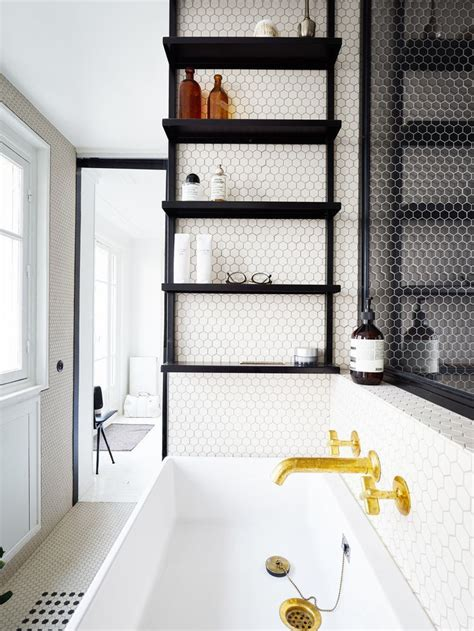 black wall shelf 15 exquisite bathrooms that make use of open storage