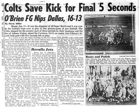 Super Bowl V: Colts save kick for final 5 seconds; O'Brien ...