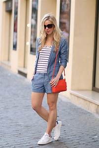 { Chambray Suit Denim blazer and shorts Striped tank u0026 Adidas sneakers } - Meaganu0026#39;s Moda