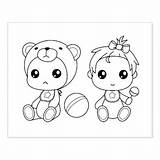 Twins Twin Jumpsuit Cartoon Bear Coloring Zazzle Babies Stamp Rubber sketch template