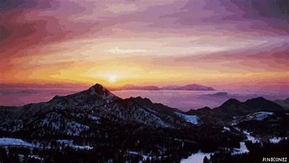 Landscape Sunset Animated Giphy Mountain Mountains Pros