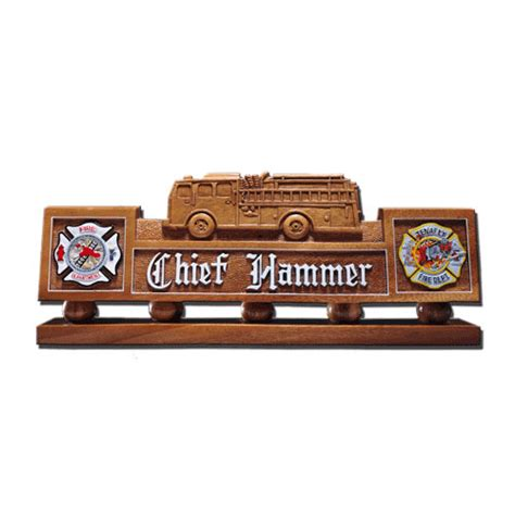 wooden name signs for desk hand carved desk name plate fire truck model 02