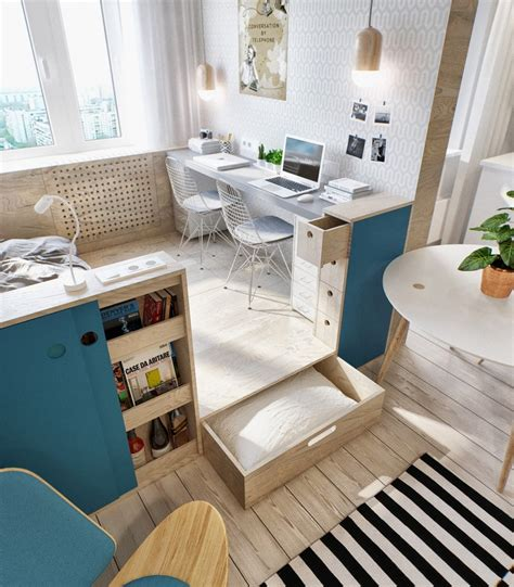 2 simple beautiful studio apartment concepts for a