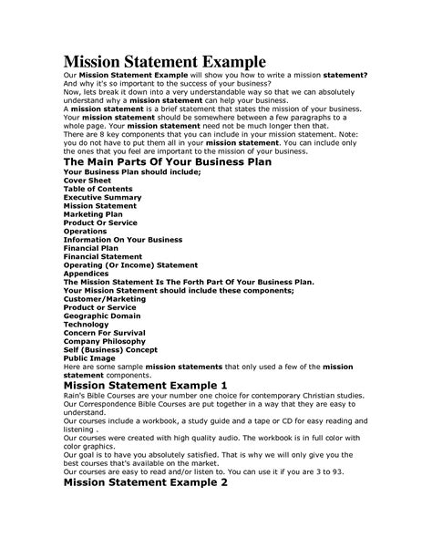 Mission Statement Template Mission Statement Templates Make Money With