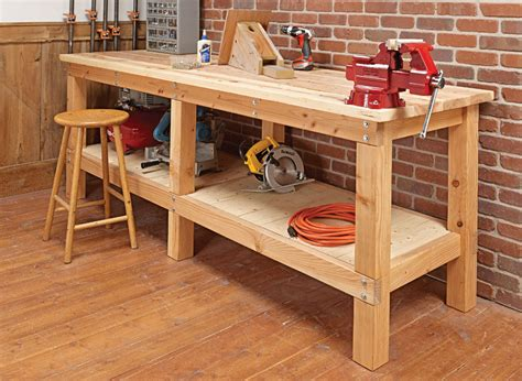 heavy duty plank workbench woodworking project