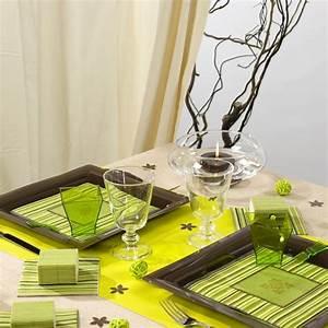 Chemin De Table Vert : chemin de table t te t te uni vert anis ~ Teatrodelosmanantiales.com Idées de Décoration