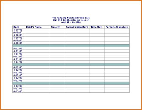 Childcare Sign In Sheet Template by Attendance Sign In Sheet Exle Mughals