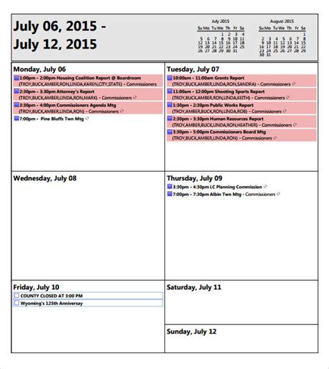weekly agenda template      word