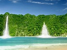 Green beach with waterfalls wallpapers and images ...