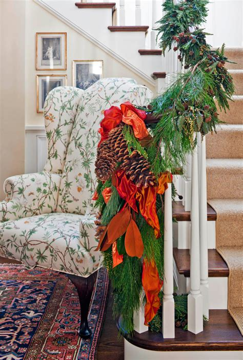 festive holiday staircases  entryways traditional home