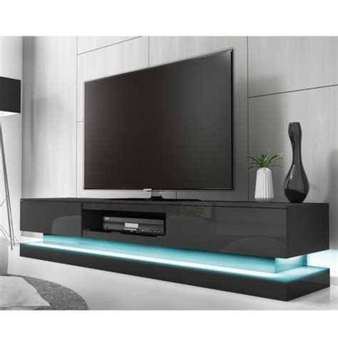 traditional livingroom evoque grey high gloss tv unit with lower led lighting