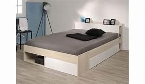 Lit 2 Places Avec Rangement : lit 2 personnes avec rangement pas cher pour chambre adulte ~ Melissatoandfro.com Idées de Décoration