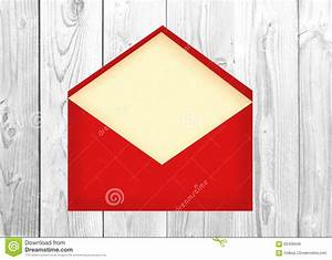 red letter envelope with paper card over white wooden With red letter envelopes