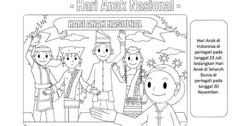 contoh gambar mewarnai tema hari anak nasional