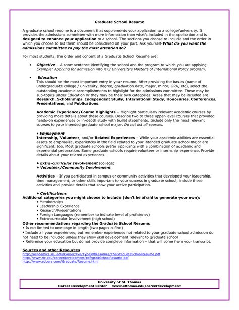 graduate school admissions resume sle http www
