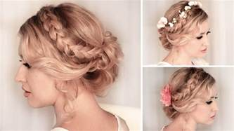 coiffure mariage mi braided updo hairstyle for medium hair tutorial wedding prom