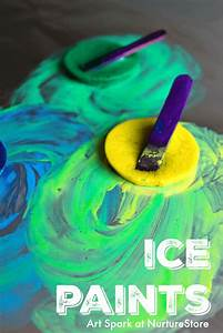 Sensory play ice painting with frozen paint