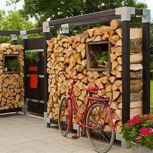 Regal Für Brennholz : kaminholz regal cubic mit premiumpfosten schwarz sichtschutz ~ Eleganceandgraceweddings.com Haus und Dekorationen