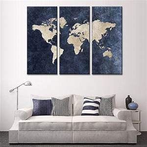3 pcs set modern abstract blue world map painting print on With kitchen colors with white cabinets with contemporary abstract canvas wall art