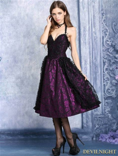 purple  black lace halter gothic dress devilnightcouk