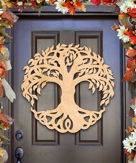 celtic tree  life wall decor  door hanger unfinished woodauthenticmonogramcom