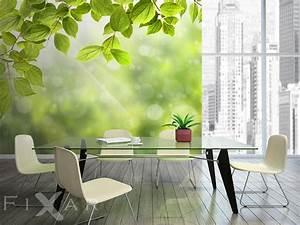 heiteres grun fototapete furs wohnzimmer wohnzimmer With balkon teppich mit tapete mit blättern