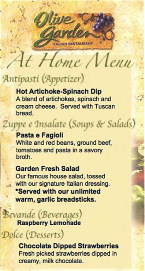olive garden menu olive garden date at home recipes included six