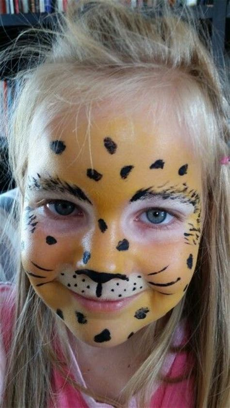 leopard face paint  kids start   white
