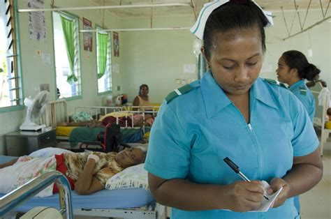 Trainee nurse Tekanrati Tito at South Tarawa Hospital, Kir ...