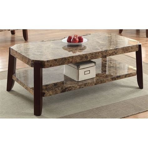 Neoclassical coffee giltwood coffee table with marble type and guilloche molding. ACME Furniture 82125 Dacia Coffee Table, Faux Marble & Brown - Walmart.com - Walmart.com
