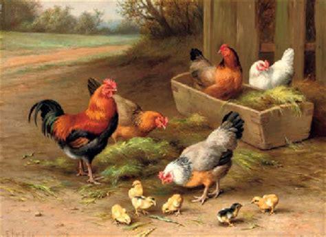 edgar hunt   farmyard chickens christies
