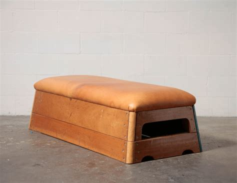teak coffee vintage leather gymnastic bench or coffee table