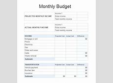 Monthly Bill Spreadsheet Template Free For Excel