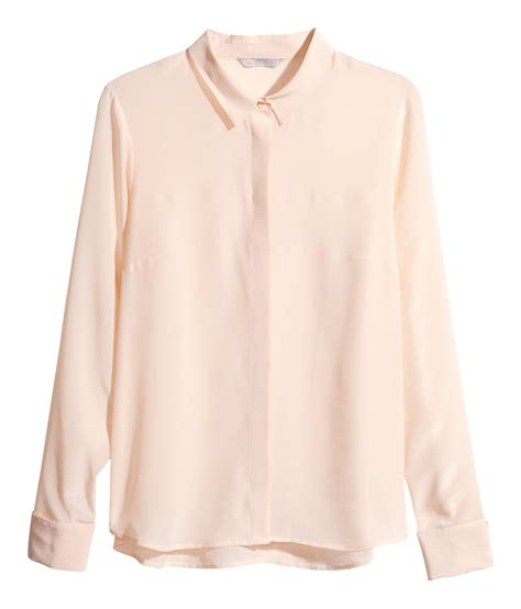 h m blouses h m silk blouse in pink light beige lyst