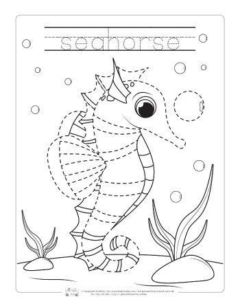 ocean animals tracing worksheets itsybitsyfuncom