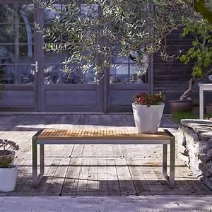 Banc En Teck : banc de jardin en teck et inox vente meuble d 39 ext rieur arno tikamoon ~ Teatrodelosmanantiales.com Idées de Décoration