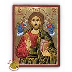 Christ Angels Jesus Icon Hagiography Wood Natural