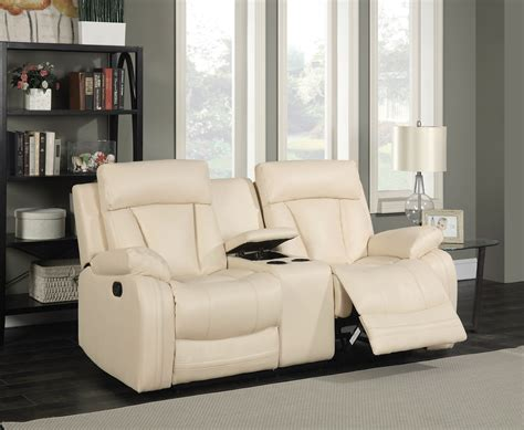 Bonded Leather Loveseat by Kyson Modern Beige Bonded Leather Reclining Loveseat W