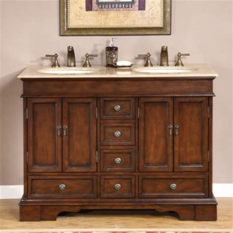 Design element london 48 in w x 22 in d vanity in white with marble. 48 Inch Small Double Sink Vanity in Antique Brown with ...