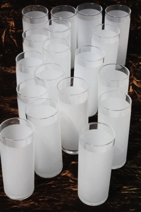 frosty white tom collins cocktail glasses set   tall