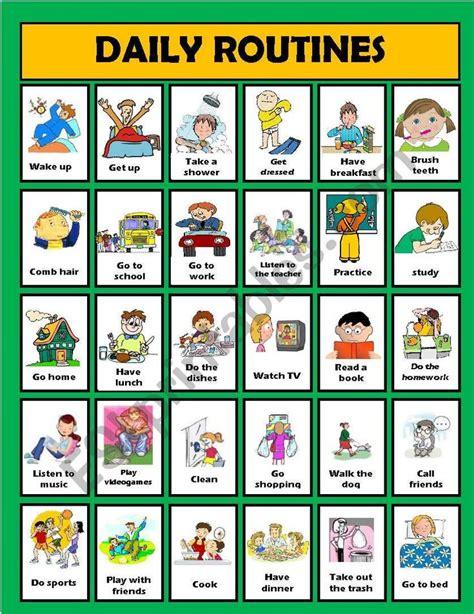 daily routine activities editable esl worksheet