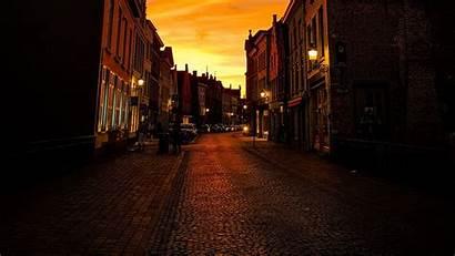 Street Buildings Twilight Lanterns Widescreen Paving Standard