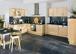 Cuisine Bois Clair : cuisine sol gris meubles clair cuisine pinterest cuisine ~ Melissatoandfro.com Idées de Décoration