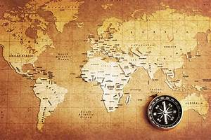 Old Compass World Map Wallpaper Wall Mural by LoveAbode.com