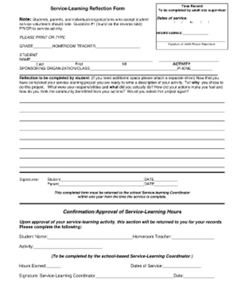 bcps service learning hours form 19 printable volunteer hour sheet high school forms and