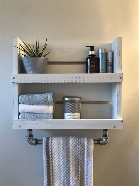 bathroom shelf  towel bar white distressed wood shelf