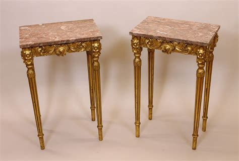 antique marble top side table pair french gilded marble top side tables c 1920