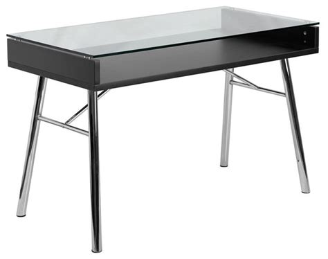 Tempered Glass Computer Desk Black by Flash Furniture Brettford Desk With Tempered Glass Top In