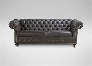 Mansfield leather sofa sofas loveseats ethan allen for Leather sectional sofa ethan allen