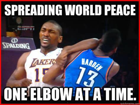 Metta World Peace Meme - spreading world peace one elbow at a time metta world peace quickmeme